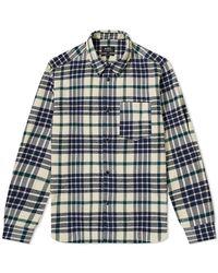 A.P.C. Mens Ecru John Checked Overshirt, Brand - Blue