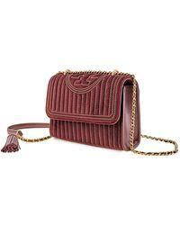 Tory Burch - Fleming Mini Stud Small Velvet & Leather Shoulder Bag - Lyst