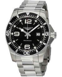 Longines Hydroconquest Black Dial Mens Watch - Metallic