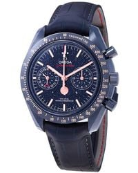 Omega Speedmaster Blue Ceramic Dial Automatic Mens Moonphase Watch