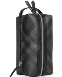 Burberry Greenford Tag Print London Check Travel Pouch - Gray