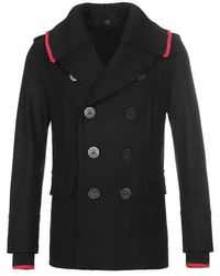 Burberry Detachable Knit Collar Wool Cashmere Pea Coat - Black