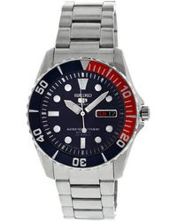 Seiko 5 Automatic Dark Blue Dial Stainless Steel Pepsi Bezel Mens Watch