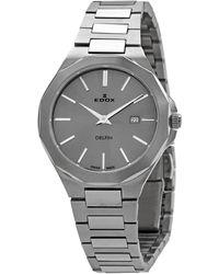 Edox Delfin Quartz Gray Dial Watch  3m Gin
