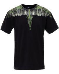 Marcelo Burlon Mens Wood Wings T-shirt In Black/green