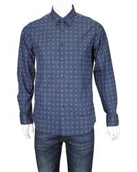 Ferragamo Long Sleeve Gancini Shirt - Blue