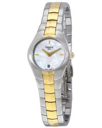 Tissot - T-round Mother Of Pearl Dial Two-tone Ladies Watch T0960092211100 - Lyst