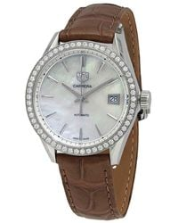 Tag Heuer Carrera Automatic Diamond White Mother Of Pearl Dial Ladies Watch - Multicolor