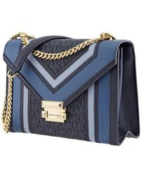 Michael Kors Whitney Large Logo And Leather Convertible Shoulder Bag - Blue