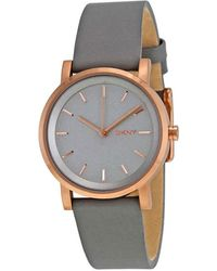 DKNY Soho Gray Pearlized Dial Gray Leather Ladies Watch - Multicolor