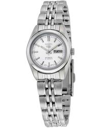 Seiko 5 Automatic Silver Dial Stainless Steel Ladies Watch - Metallic