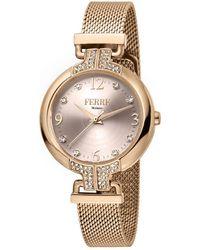 Ferrè Milano Quartz Rose Gold Dial Ladies Watch - Metallic