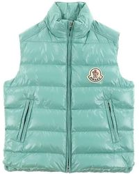Moncler Mens Parker Down Filled Padded Vest In Green, Brand