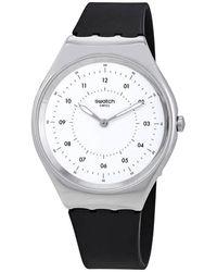 Swatch Skinnoiriron White Dial Black Rubber Unisex Watch - Metallic