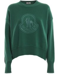 Moncler Ladies Green Logo Embroidery Wool Boxy Sweater