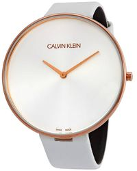 Calvin Klein Full Moon Quartz Silver Dial Ladies Watch - Metallic