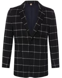 Burberry Mens Black Check Cashmere Blazer