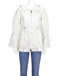 Moncler Ladies Lace Detail Parka Coat - White