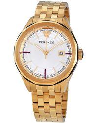 Versace Glaze Quartz Silver Dial Mens Watch - Metallic