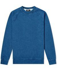 A.P.C. Mens Denim Effect Cotton Sweatshirt, Brand - Blue