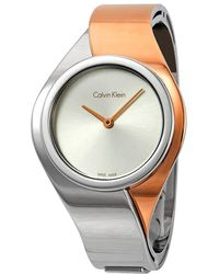 Calvin Klein Senses Silver Dial Ladies Small Bangle Watch - Metallic