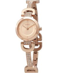 DKNY City Quartz Rose Dial Rose Gold-tone Ladies Watch - Pink
