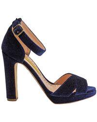 Rupert Sanderson - Ladies Sandal Fashion Navy Xx Sandal Platform X Velvet, Brand - Lyst