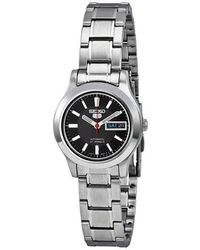 Seiko 5 Automatic Black Dial Stainless-steel Ladies Watch - Metallic