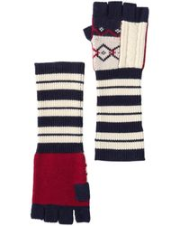 Burberry Geometric Cable Knit And Fair Isle Fingerless Gloves - Multicolor
