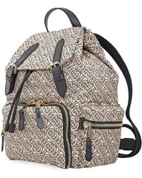 Burberry The Rucksack Small Backpack In Beige Monogrammed Nylon - Natural