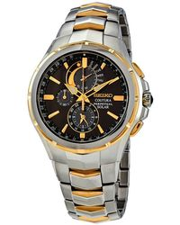 Seiko Coutura Solar Perpetual Chronograph Black Dial Mens Watch - Metallic