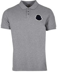 Moncler Mens Embroidered Logo Polo Shirt In Gray