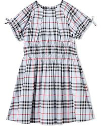Burberry Kids Blue Ruched Panel Checked Dress, Brand