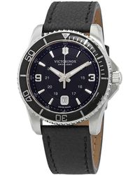 Victorinox Maverick Black Dial Black Leather Mens Watch