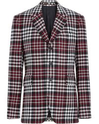 Burberry Mens Red Slim Fit Checked Blazer