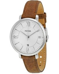 Fossil Jacqueline Silver Dial Tan Leather Strap Ladies Watch - Metallic