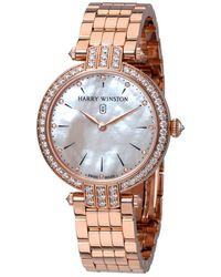 Harry Winston Premier Mother Of Pearl Dial Ladies 18k Rose Gold Watch - Pink