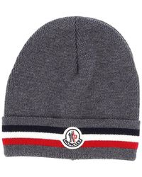 Moncler Mens Grey Striped Turn-up Knit Wool Beanie