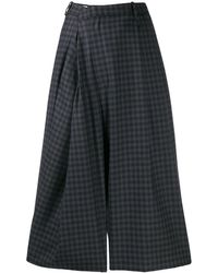 Maison Margiela Asymmetric Checked Wool-blend Culottes - Grey
