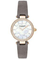 COACH Quartz Diamond Crystal White Mother Of Pearl Dial Ladies Watch - Metallic