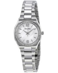 Bulova Mother Of Pearl Dial Stainless Steel Ladies Watch - Metallic