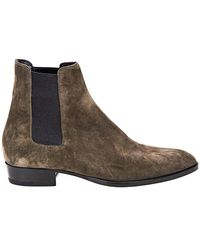 Saint Laurent Mens Wyatt Chelsea Bronze Boot - Brown