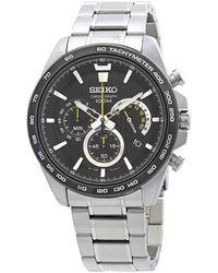 Seiko Chronograph Black Dial Mens Watch - Metallic
