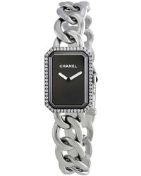 Chanel Premiere Black Dial Stainless Steel Diamond Watch - Metallic