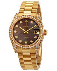 Rolex Lady-datejust Silver Diamond Dial Automatic 18 Carat Yellow Gold Jubilee Watch - Metallic