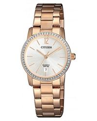 Citizen Quartz Crystal Ladies Rose Gold-tone Watch -86a - Metallic
