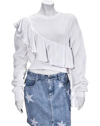 Filles A Papa Ladies Knit Tops White Jumper With Ruffle, Brand