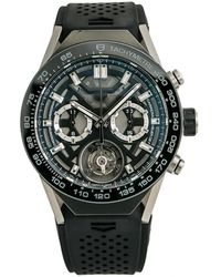 Tag Heuer Pre-owned Carrera Chronograph Tachymeter Grey Dial Mens Watch - Gray