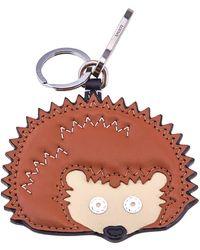 Loewe Ladies Brown Hedgehog Leather Charm Keychain