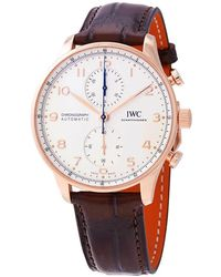 Iwc Portugieser Chronograph Automatic White Dial 18kt Rose Gold Mens Watch Iw3716-11 - Metallic